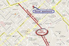 location map of the Dandi apartment for rent in Eixample Barcelona