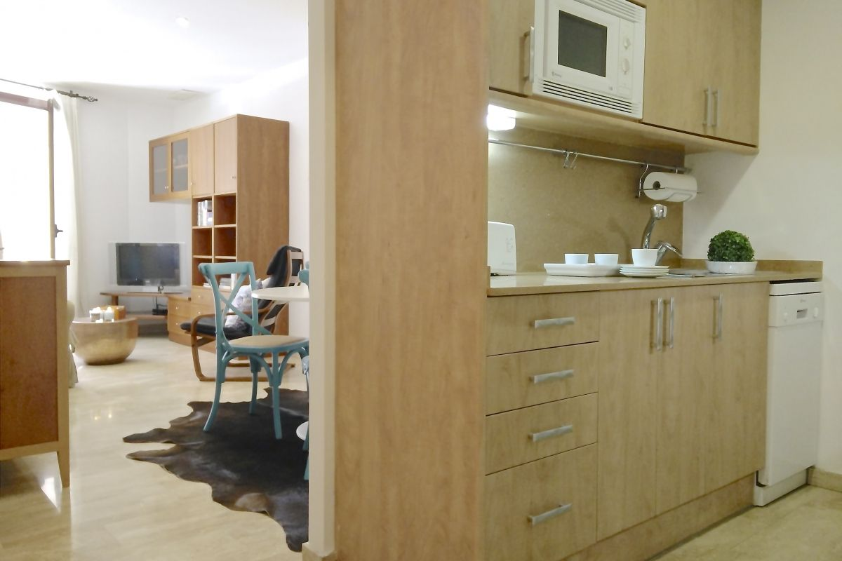 modern private kitchen with induction range top at Neo apartment for rent in Barcelona to cook the fresh produce of the local markets in the Eixample area of Barcelona