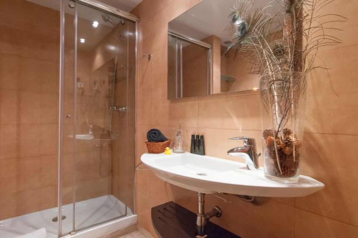 general view of the bathroom with shower cabin and designer washbasin
