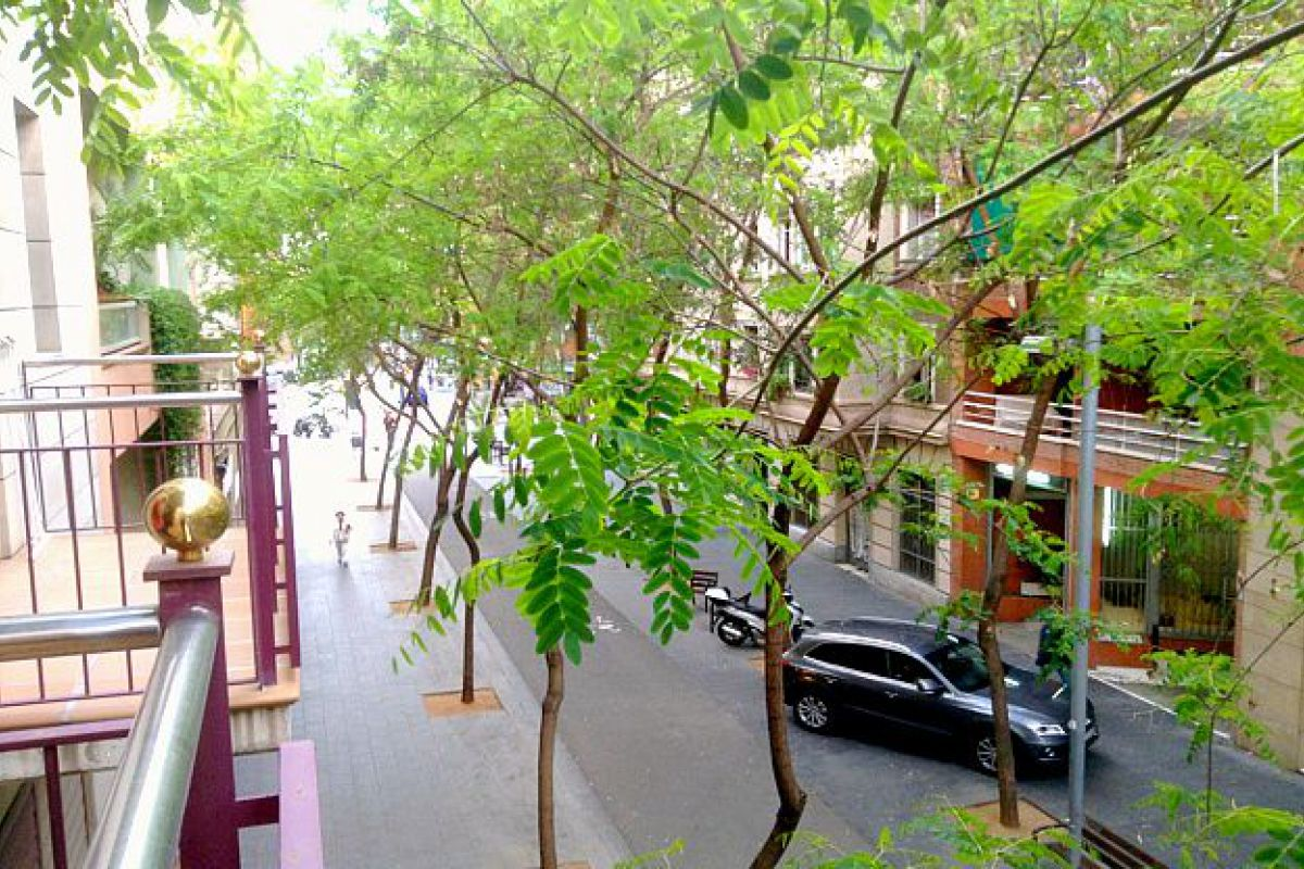 view from the terrace of the street where the Neo apartment is located in Barcelona city center