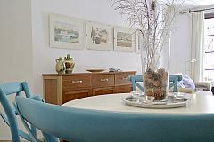 living area view from the dining table in Neo furnished apartment for rent in Barcelona