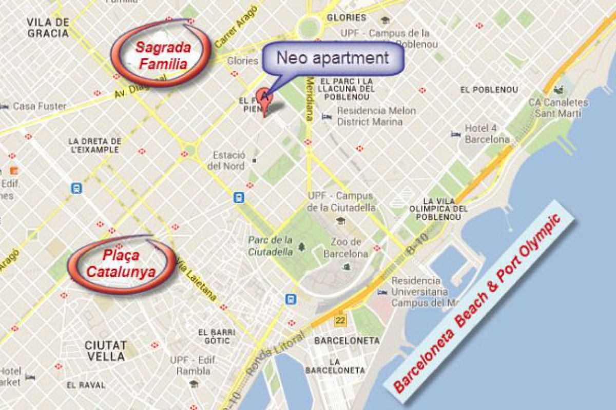 location map of the Neo apartment in Eixample Barcelona