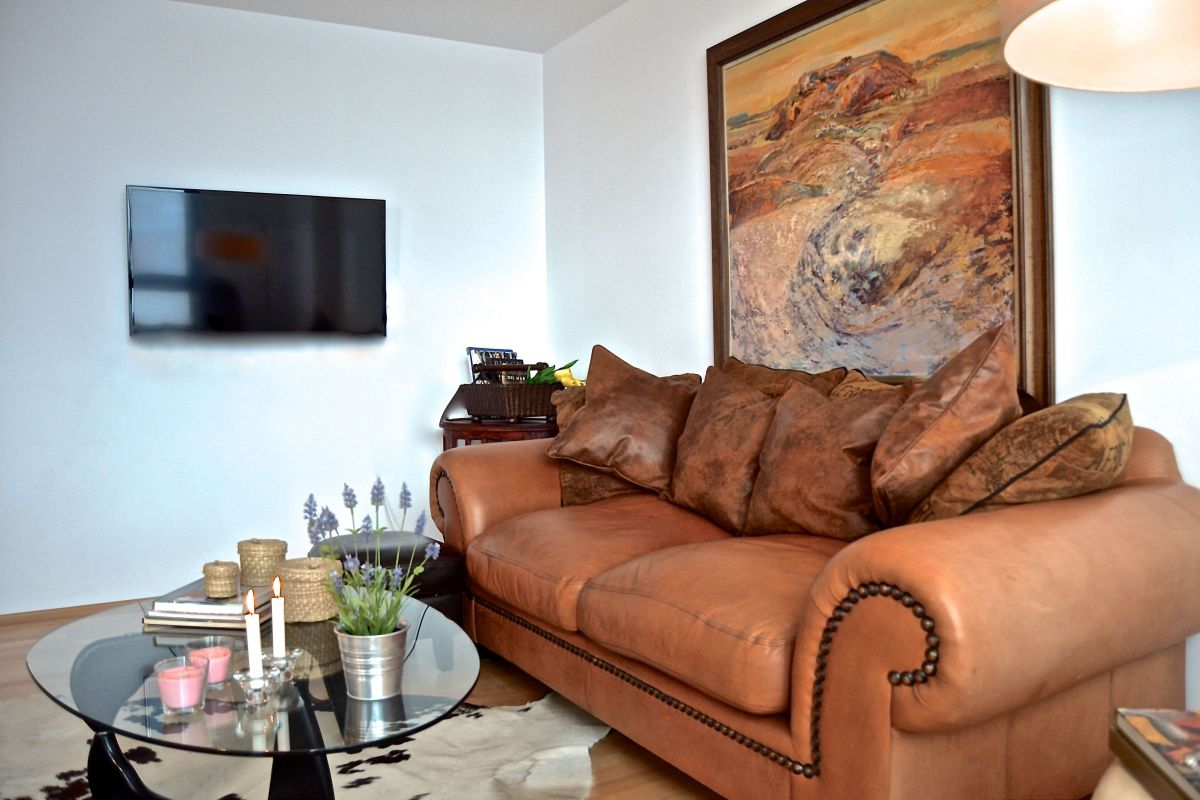 super comfortable leather sofa in the living space