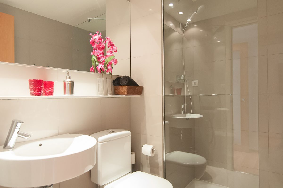 the second bathroom of the Livingstone apartment in Barcelona has a built-in shower cabin