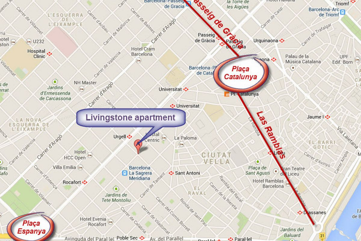 location map of the Livingstone apartment in Eixample Barcelona