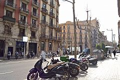 street view of the central location street in Eixample where this apartment for rent in Barcelona is located
