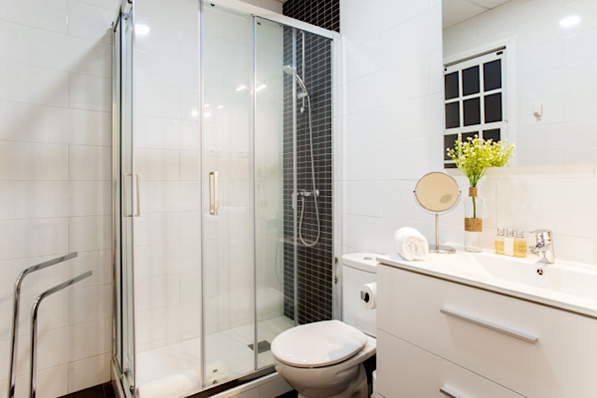master ensuite bathroom with large shower cabin