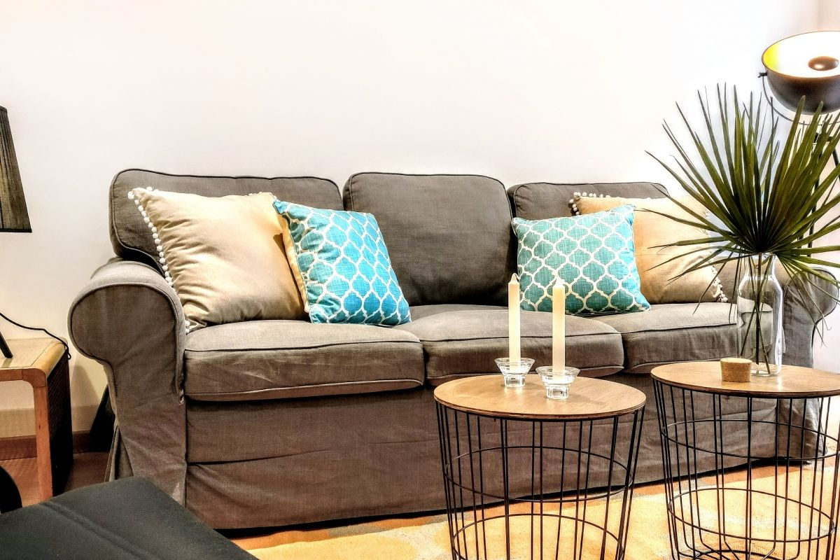 comfortable sofa in this Parsifal vacation rental in Barcelona