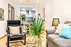 interior design at the Parsifal living area in Barcelona short term apartment rental