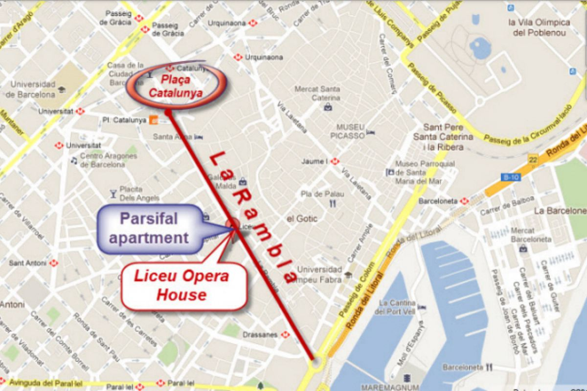 location map of the Parsifal apartment for rent in La Rambla Barcelona