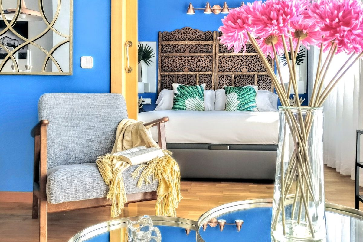 beautiful living area with a comfortable sofa at the Dandelion apartment for rent in Barcelona with Terrace Luxury 1 bedroom by L'illa Diagonal