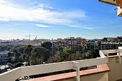 impressive views of the city under your feet from the Gatsby high floor apartment with terrace located in Les Corts district Barcelona, for rent long term in Barcelona
