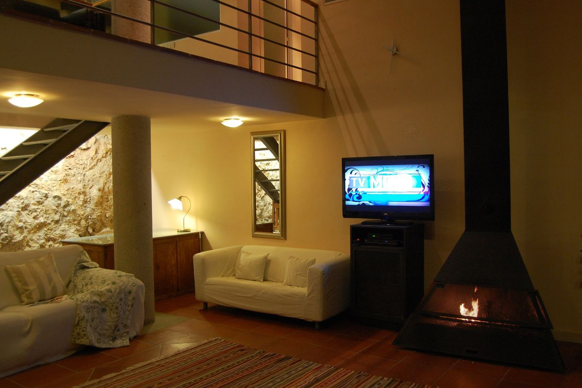 double-height living room with a fireplace and its wide large windows