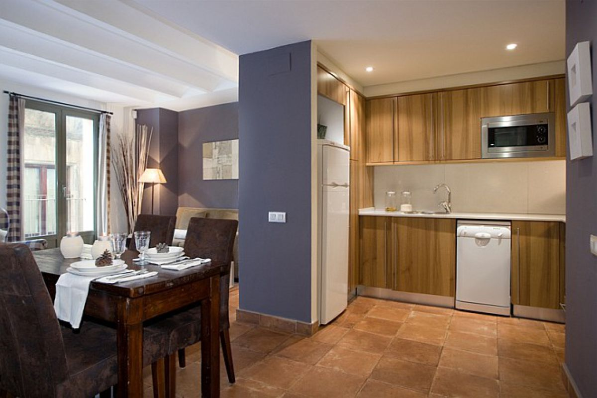 living and kitchen at the Colonial apartment for rent short term in Port Vell in the Gothic quarter distric for family trips