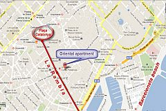 location map of this apartment for rent in Barcelona in the Gothic quarter for holiday rentals