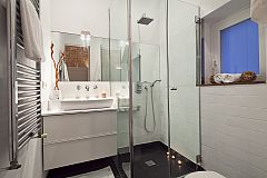 full master ensuite bathroom with a modern look, shower cabin and heated towel rail