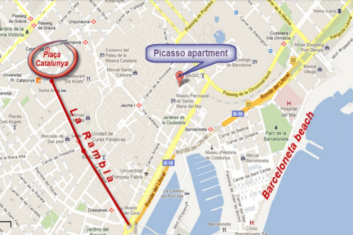 location map of the Picasso flat in El Born district in Barcelona apartments for short term rentals and monthly rentals
